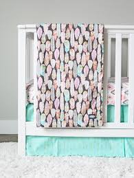 Gold Crib Bedding by Feather Nursery Bedding Set Arrows Aztec Pink Mint Gold
