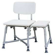 medline bath safety bariatric transfer bench with back in white