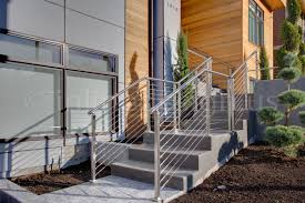 Exterior Stair Handrail Kits Tan Ca Modern Stainless Steel Cable And Glass Railing Inline