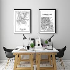 living room prints modern world map decorative painting black white minimalist art