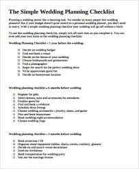 simple wedding planner wedding planning checklist sle in pdf 8 exles in pdf