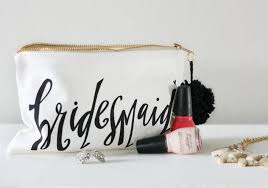 bridal makeup bag bridesmaid makeup bag bridesmaid gift of honor gift favor