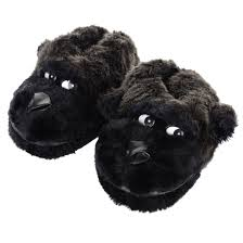 boys black faux fur gorilla slippers with non slip soles