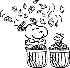 snoopy autumn coloring page wecoloringpage