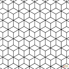 geometric tessellation with rhombus pattern coloring page free