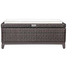 Patio Storage Ottoman Patioroma Outdoor Aluminum Frame Patio Wicker Cushion