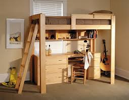 Bunk Bed With Study Table Bedroom Fascinating Oak Loft Bed And Study Table With Brown