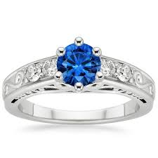 sapphire art deco filigree diamond ring 1 4 ct tw in 18k white
