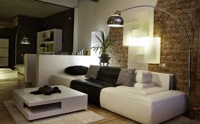 brick wallpaper family living room with white sofa and sofa bed