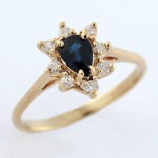 teardrop diamond ring 14k womens yellow gold teardrop sapphire diamond ring ebay
