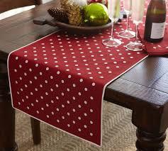 polka dot embroidered table runner pottery barn