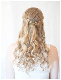 half braided half down hairstyle for prom braided half up half