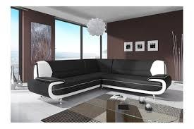 canap d angle mistergooddeal canapé d angle design en pvc noir et blanc nino 7places