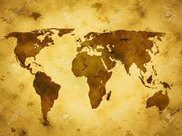 Old World Map by Background Paper Grunge Old World Map Stock Photo Picture