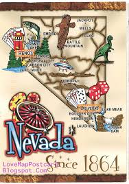 State Of Nevada Map by Love Map Postcard