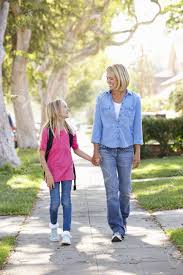 Suburban People Mother And Daughter Walking To On Suburban Street Stock