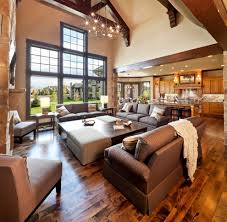 large open concept living room traditional with exposed wood beams