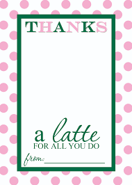 printable gift cards thanks a latte free printable gift card holder cheaps
