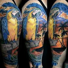 guys of palm tree and parrot half sleeve