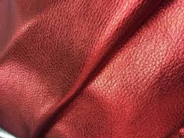 Leather Cowhide Fabric Metallic Red Lichee Patterned Cowhide Fabric