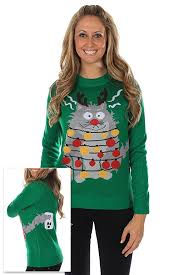amazon com women u0027s ugly christmas sweater electrocuted cat