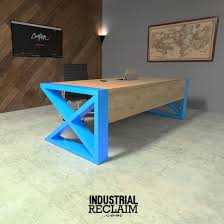 Compact Modern Desk Modern Desk With Waterfall Wood Edge Pop Of Color