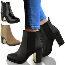 womens boots block heel womens gold mid high block heel chelsea chunky low ankle
