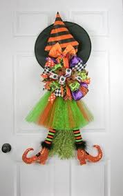 Flying Witch Decoration Halloween Spider Witch Wreath Orange And Black Diva Tutu Witch Hat