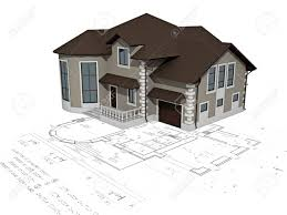 the house 3d image on a background the plan stock photo picture