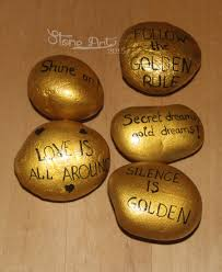 sprüche steine gartendekoration handbemalte steine magneten sprüche gold
