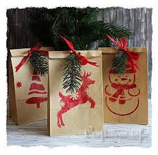 christmas paper bags christmas paper craft stenciled christmas gift bags