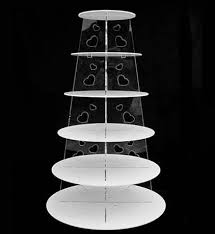 6 tier white circle heart acrylic cupcake party wedding cake stand