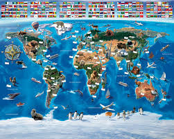 Ocean Wall Murals by Brewster Wallpaper Map Of The World Wall Mural