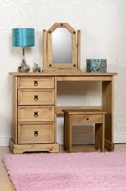 mexican pine computer desk corona 4 drawer dressing table stool and mirror set waxed pine