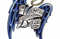 mom dad angel wings tattoo design