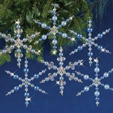 beaded ornament kit vintage style snowflakes solid oak