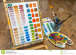 painting color exercise mixing colors with easel brushes and