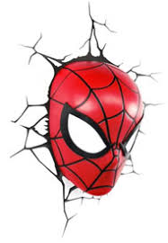 3d deco superhero wall light spiderman head thinkgeek