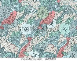 seamless pattern japanese garden flowers carps stock vector