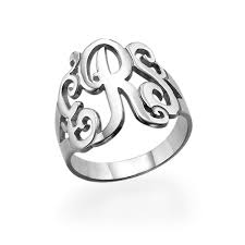 monogrammed silver ring silver monogrammed ring mynamenecklace