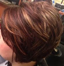 honey brown haie carmel highlights short hair asymmetrical inverted bob caramel highlights short hair i