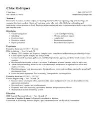 executive sample resume executive assistant resume sample