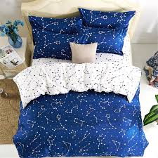 com esydream home bedding blue color constellation 4pc duvet cover sets space style kids bedding sets cotton microfiber no comforter twin size