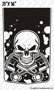 skull pistons blackout truck decal sticker jeepazoid