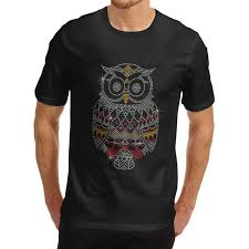Owl Item by Men U0027s Cotton Rhinestone Animal Theme Shiny Cute Owl Design T Shirt