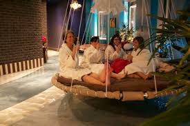 floating round rotating hanging bed spa treatment package the