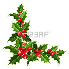 decorative elements with christmas holly set isolated royalty free