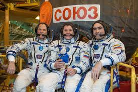 soyuz departs for space station with u s russian crew on space