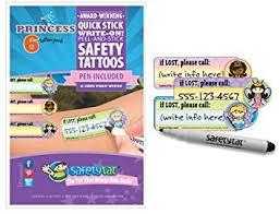 amazon com safetytat child id safety tattoo princess 6 pack