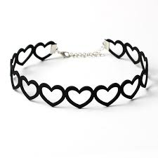 love heart choker necklace images 2017 new hollow out love heart chokers black velvet choker jpg